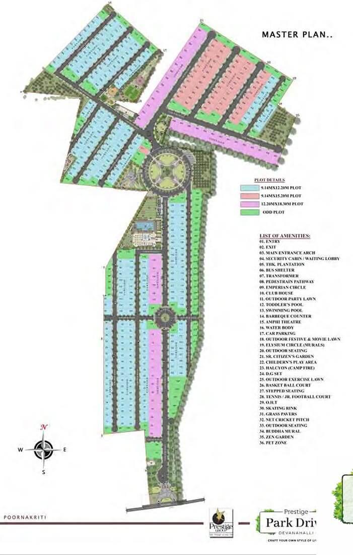 Master Plan - Prestige Park Drive Plots Devanahalli
